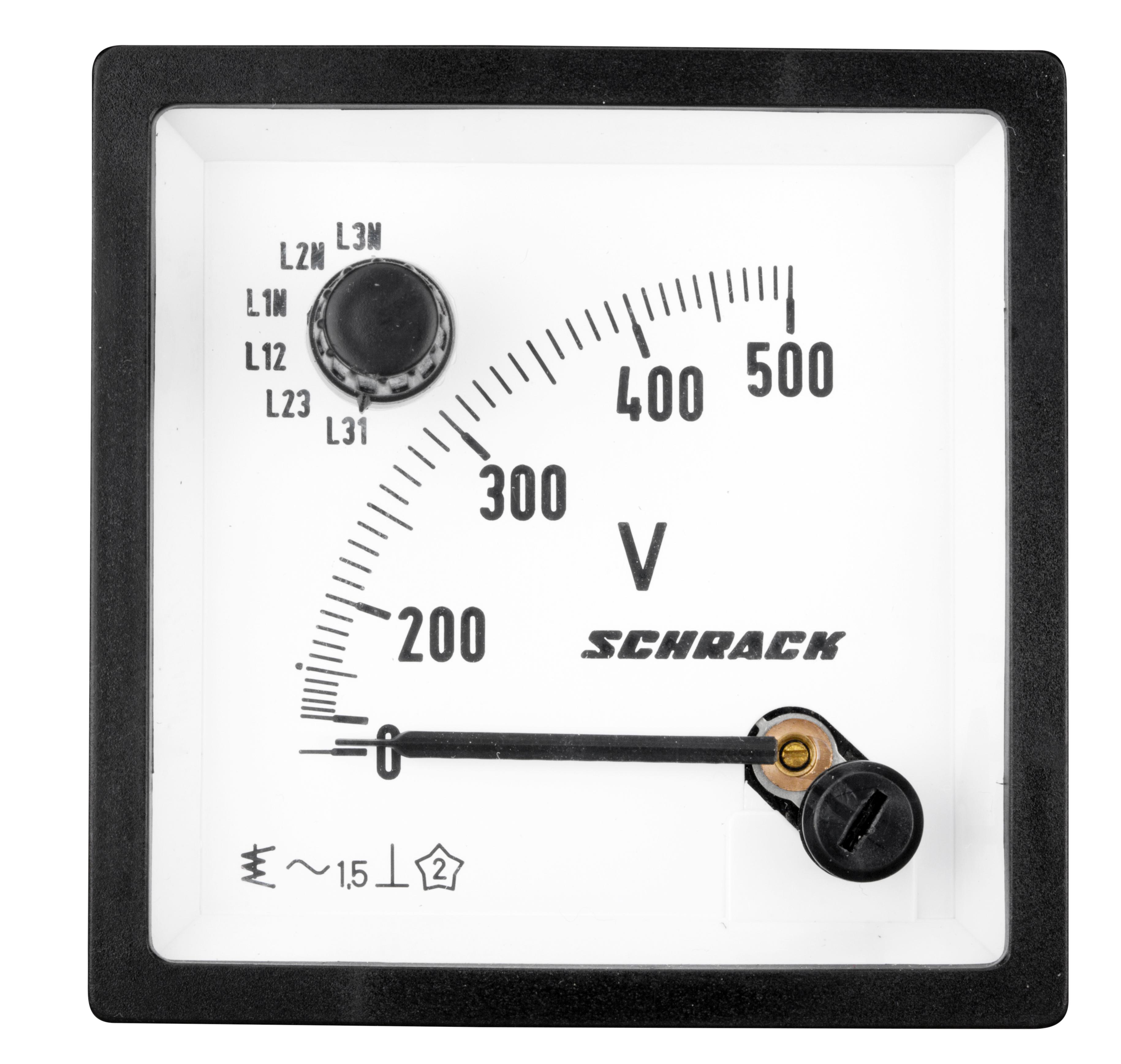 1 Stk Voltmeter mit integriertem Umschalter, 72x72mm, 500V AC MGF77500-A