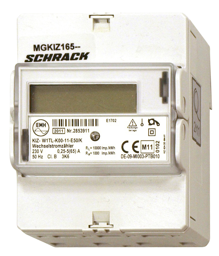 1 Stk Digitaler Wechselstromzähler 65A, 2 Tarife,  m. MID, 4TE MGKIZ165--