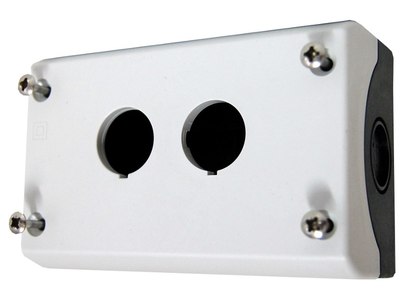 1 Stk AP-Gehäuse 2 Befehlsstellen schwarz/hellgrau MM216537--