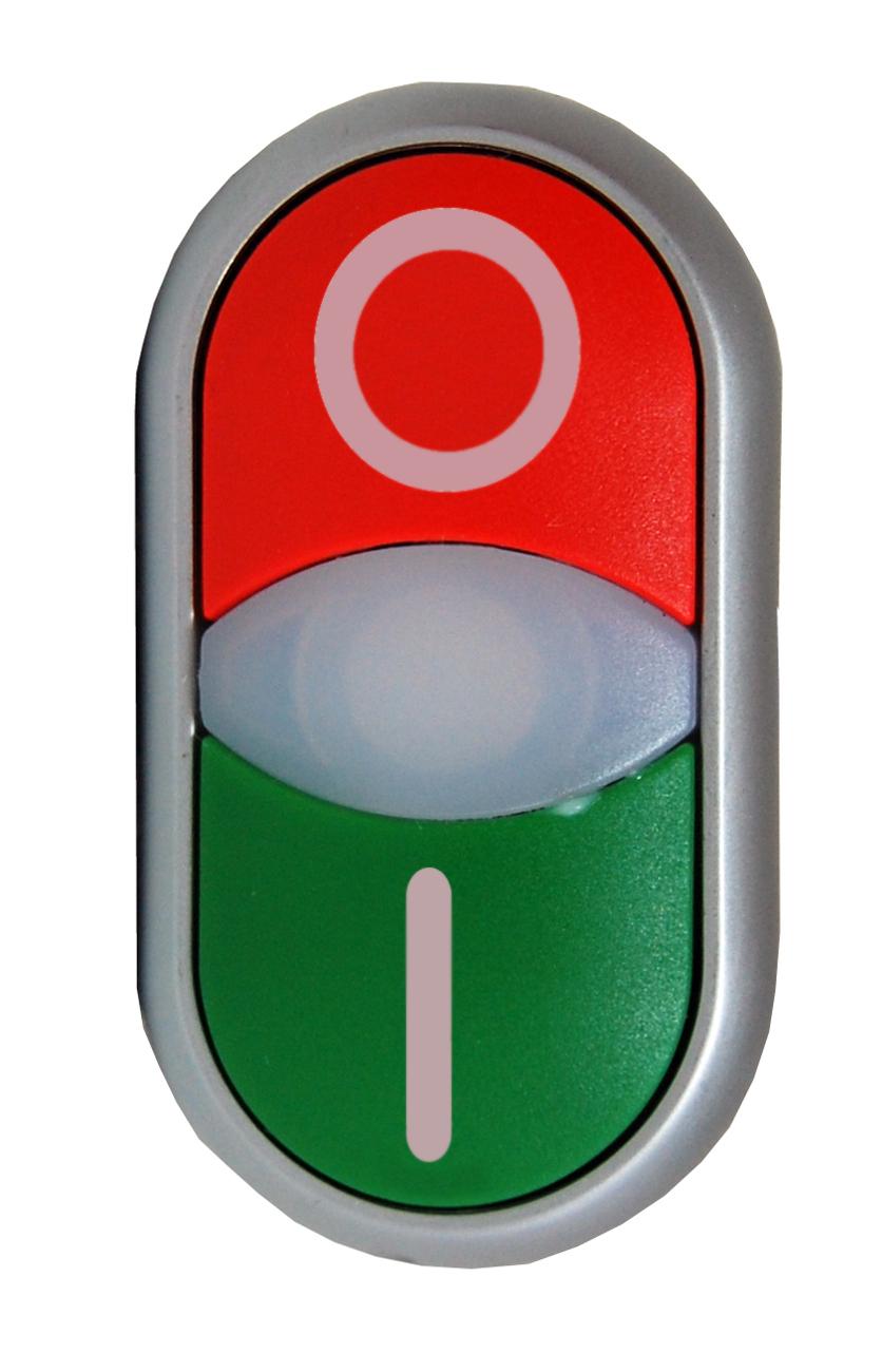1 Stk Doppeldrucktaste tastend beleuchtet rot/grün 0/I MM216700--