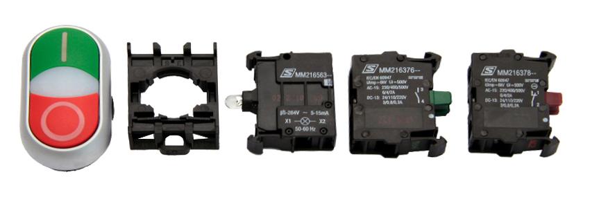 1 Stk Doppeldrucktaste SET grün/rot 230V, 1S, 1Ö MM900014--