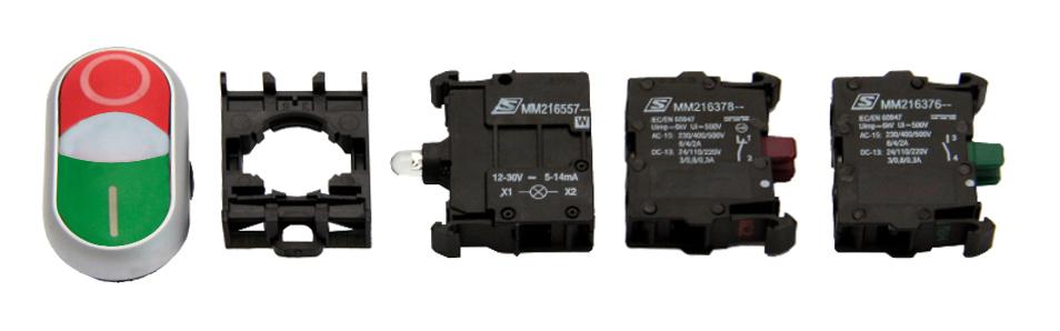 1 Stk Doppeldrucktaste SET grün/rot 24V, 1S, 1Ö MM900015--