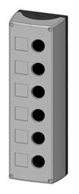 1 Stk Aufbaugehäuse 6-Loch, schwarz/grau MSG61000--