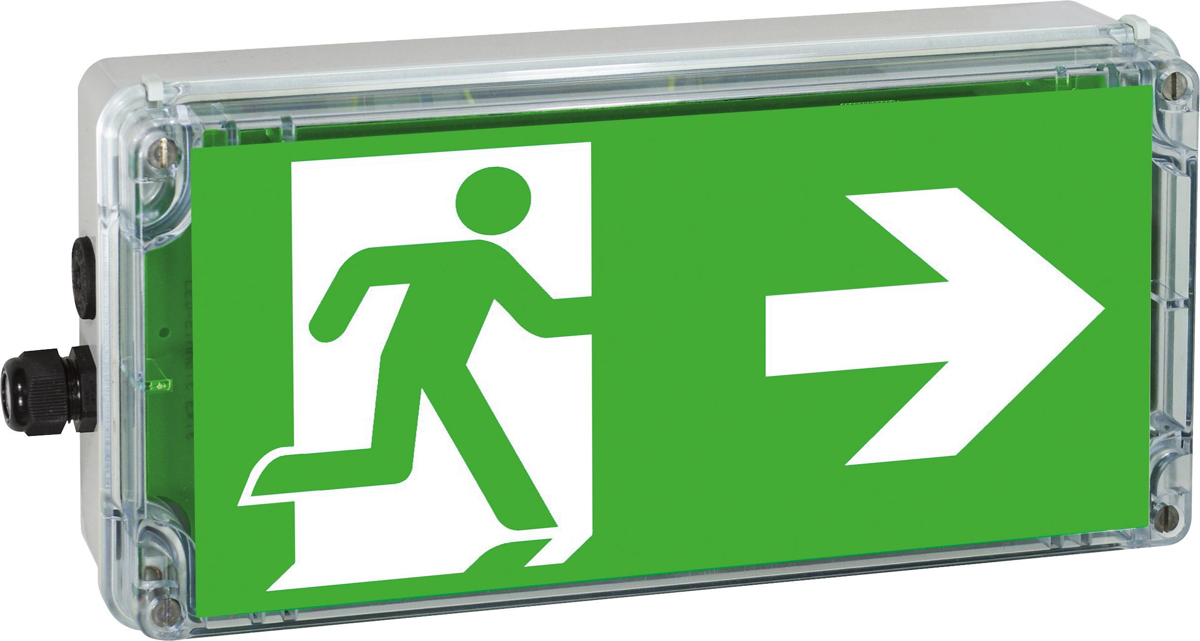 Ex-Notleuchte EXIT 2 Zone 2/22 LED 230 VAC/DC, Pfeil rechts