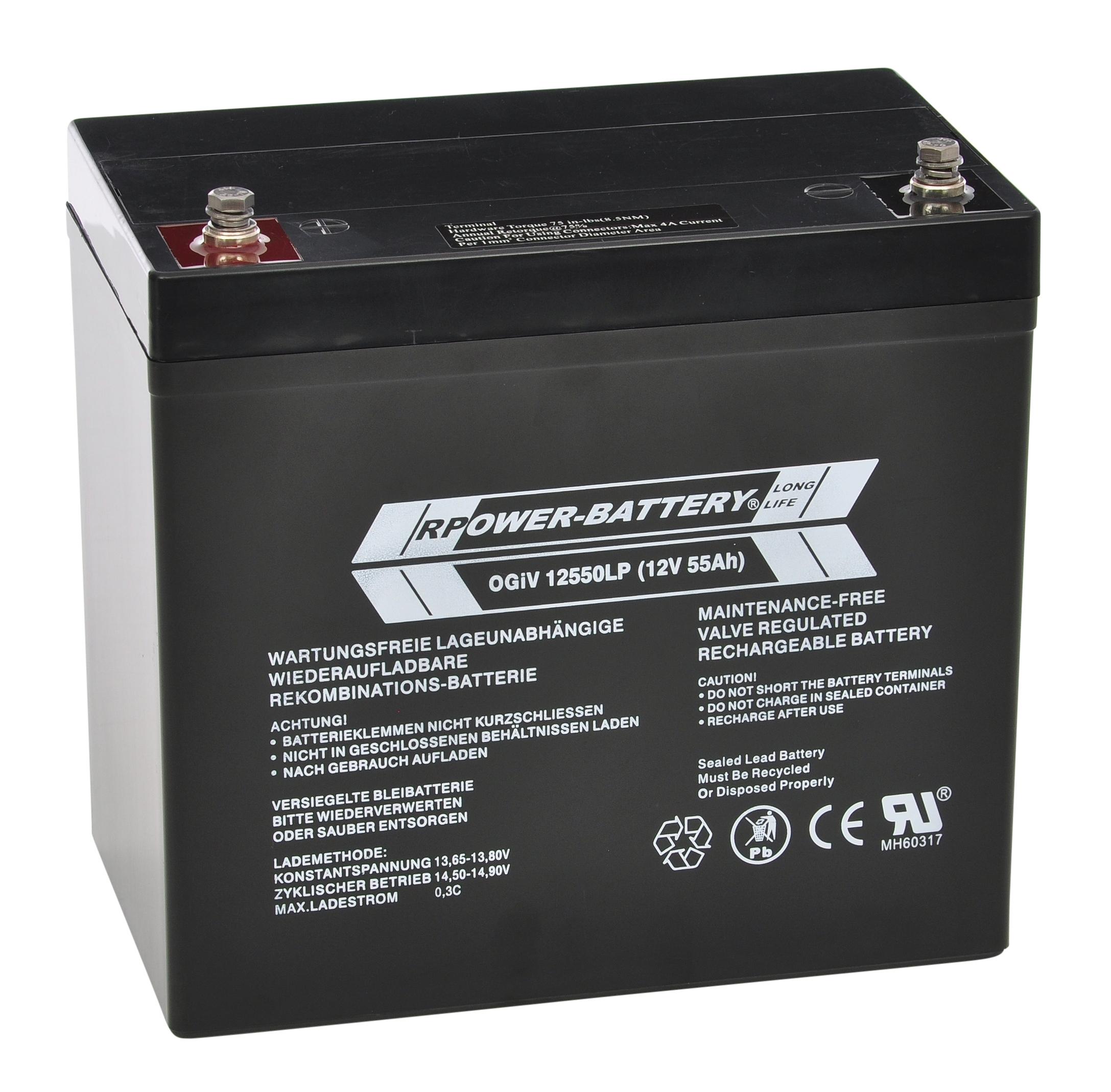 Batterie RPower OGiV longlife bis 12 Jahre 12V/61Ah (C20)
