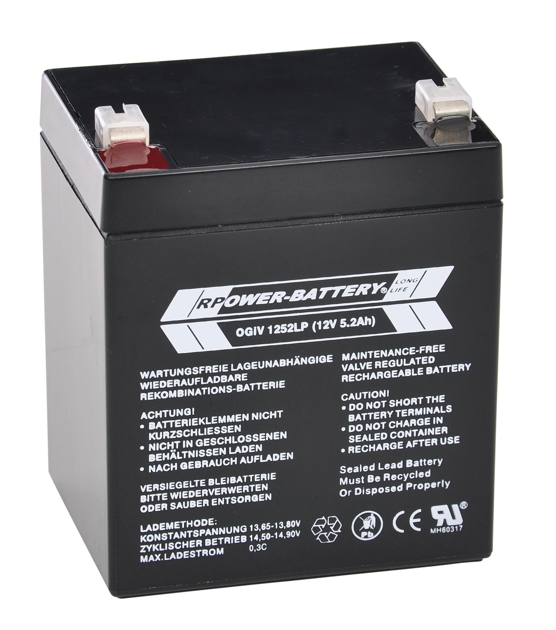 Batterie RPower OGiV longlife bis 12 Jahre 12V / 5,2Ah (C20)
