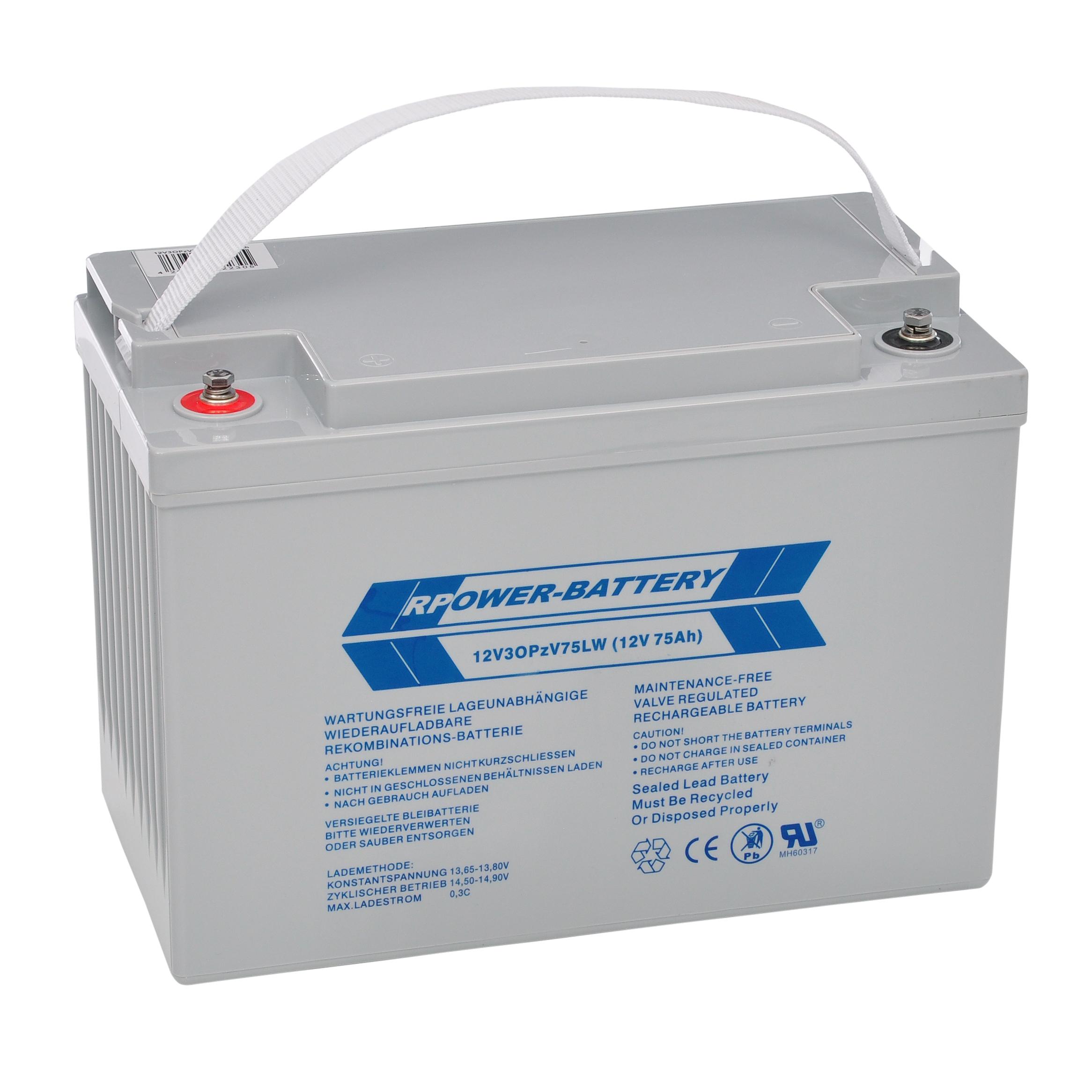 Batteriesatz 216V 18 Stk, longlife OPzV 12V/75Ah (C10)