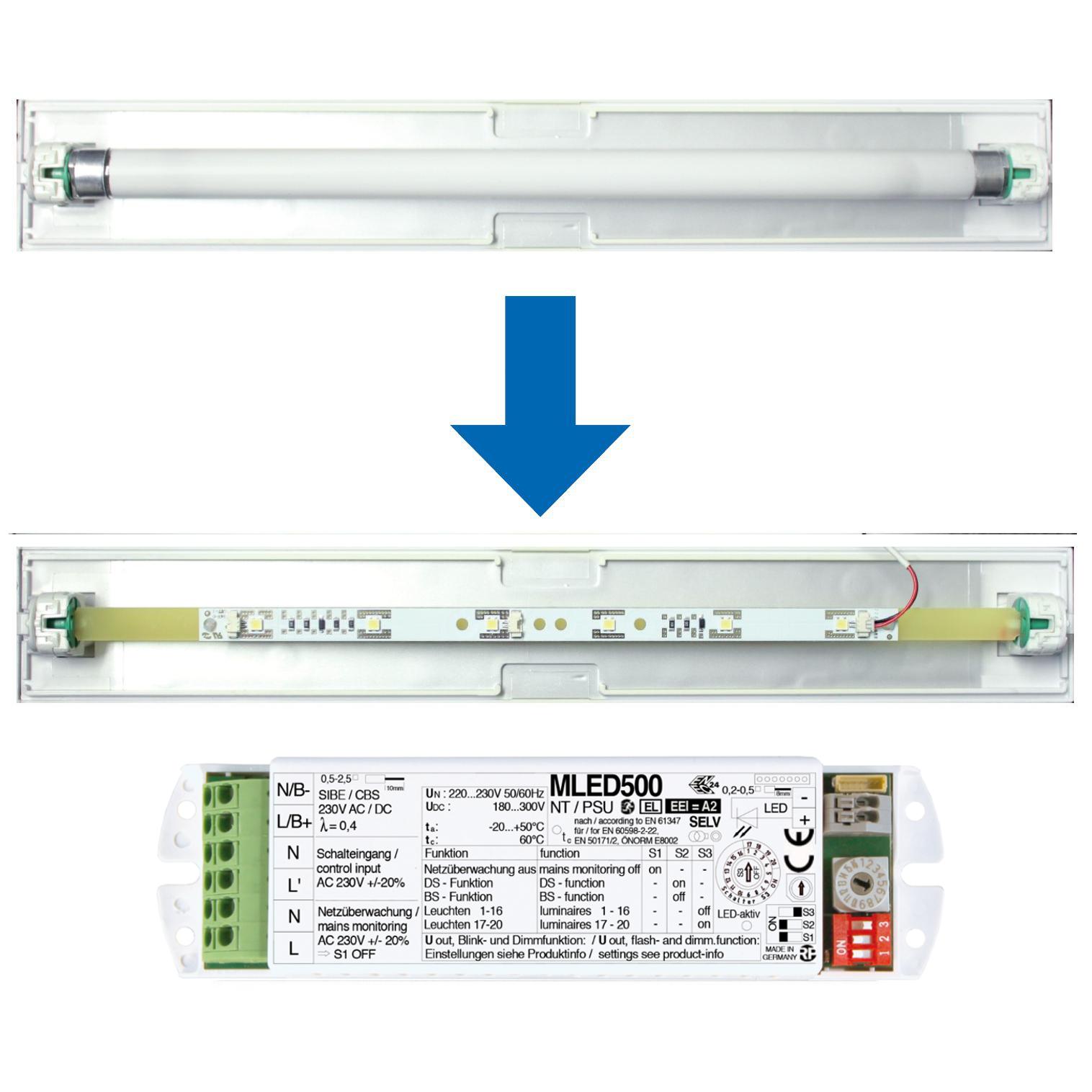 Umrüstset 6x05W HP-LED Strip + MLED400 + Träger