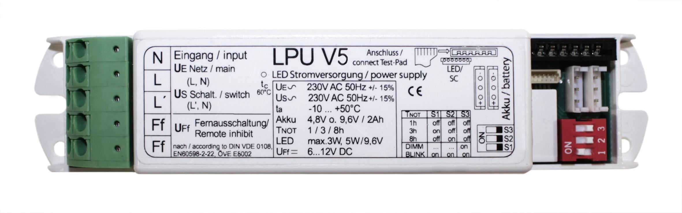 Prozessorgesteuerter Notlichteinsatz für LED-Leuchten