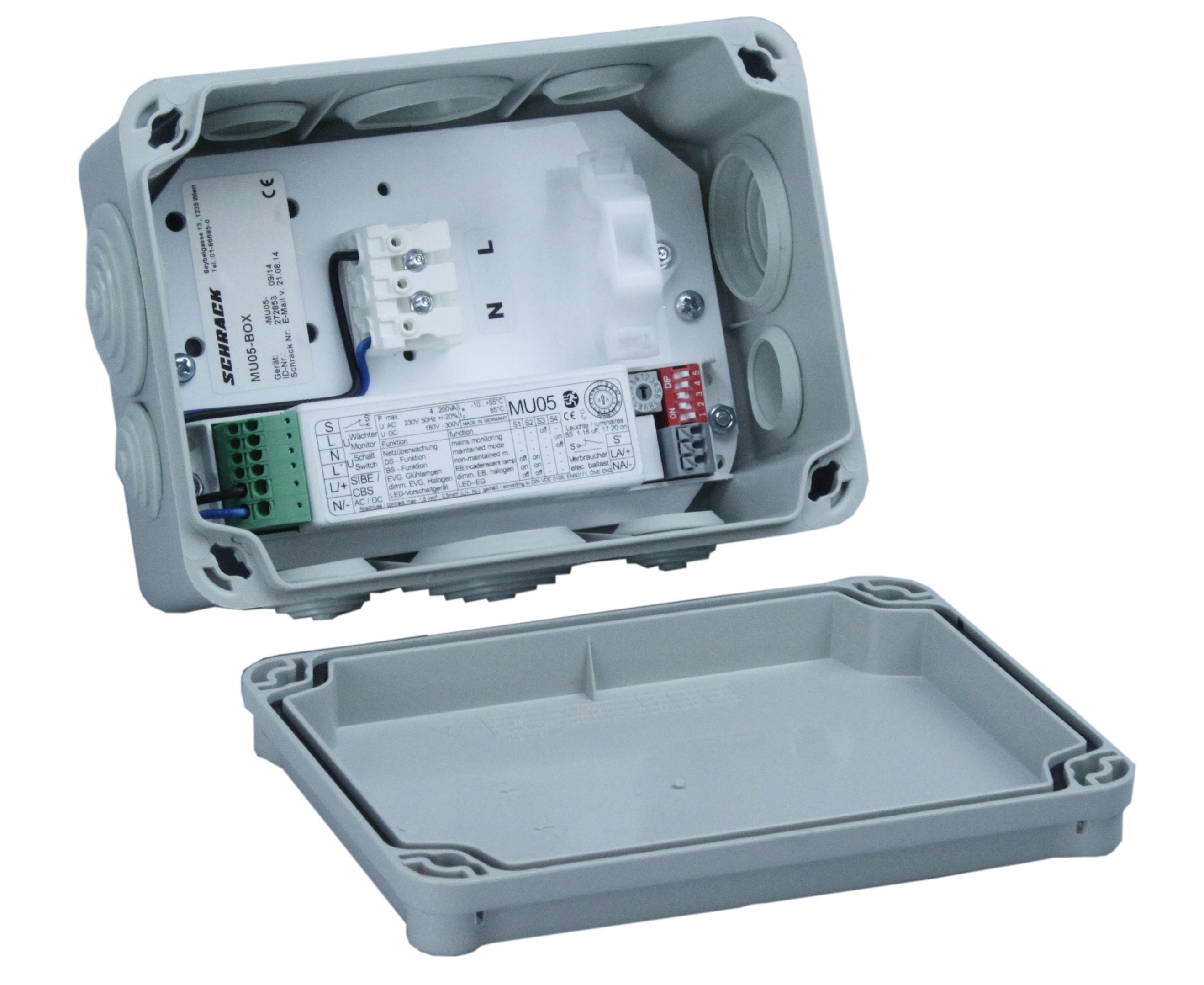 Box IP65 mit Montageplatte und MU05 für Leuchten bis 200VA