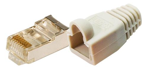1 VE RJ45 Stecker Kat5e geschirmt+Tülle grau, f.Flexkabel,100Stk. Q7151792--
