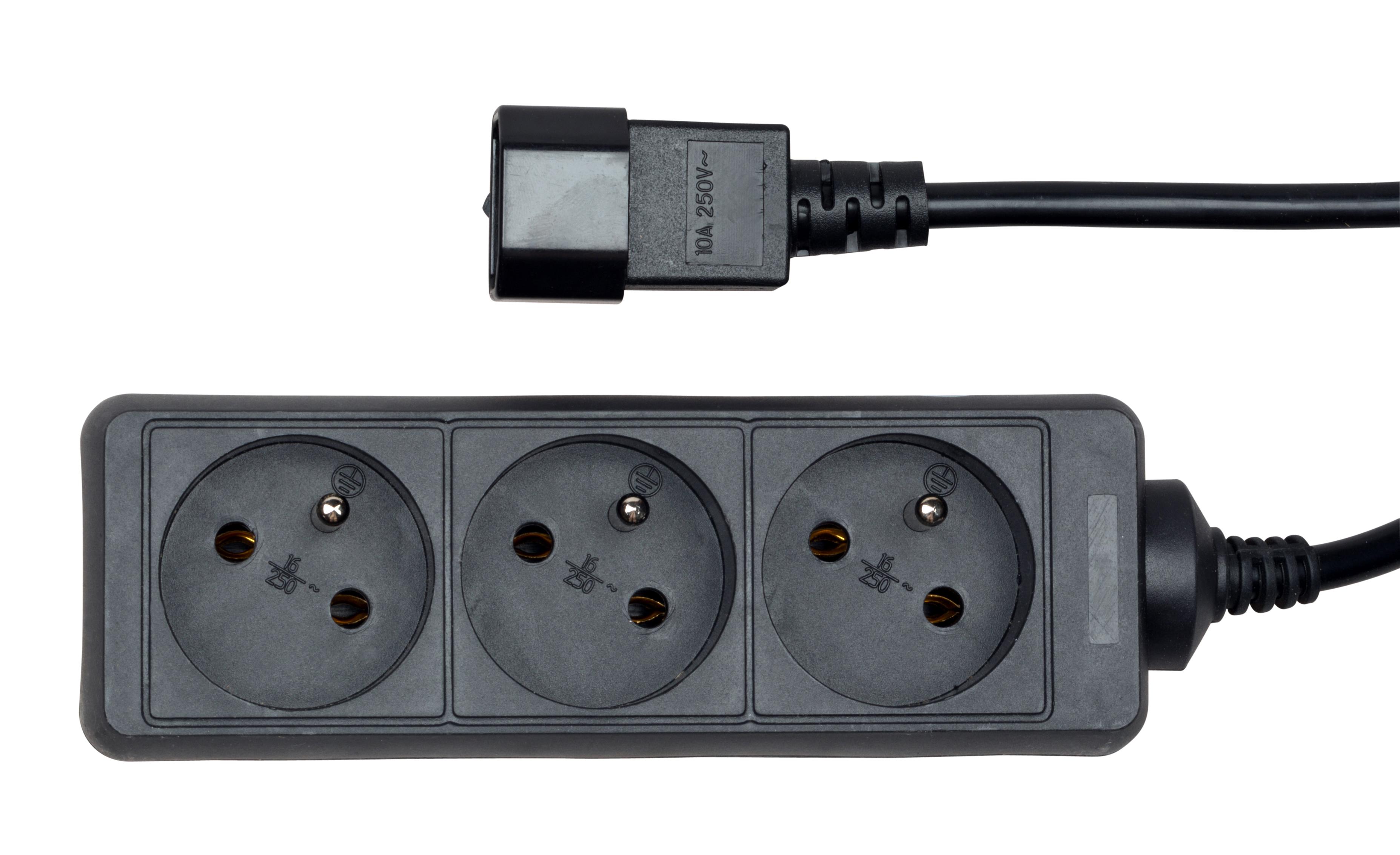 1 Stk Netzleiste für USV, 3x UTE, 10A, 1.1m Kabel, schwarz Q7533061--