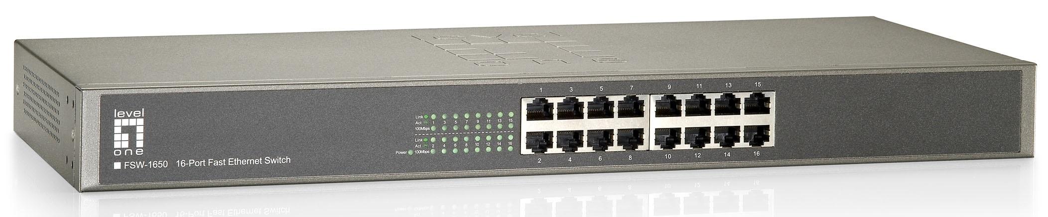 1 Stk Switch 16xRJ45 10/100 Leise, Lüfterlos, internes Netzteil QLFSW1650-