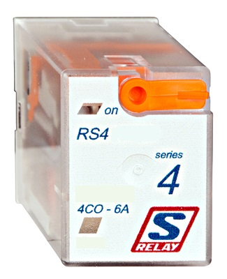 1 Stk Koppelrelais, 4 Wechsler, 6A, 24VAC, S-Relay RS4 mit LED RS410R24--