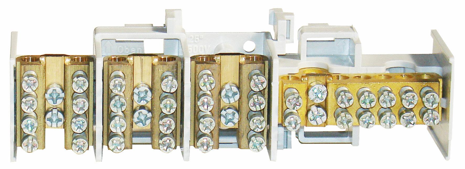1 Stk Hauptklemme blank 25mm², 4-polig, 3x4x16mm² SI022350--