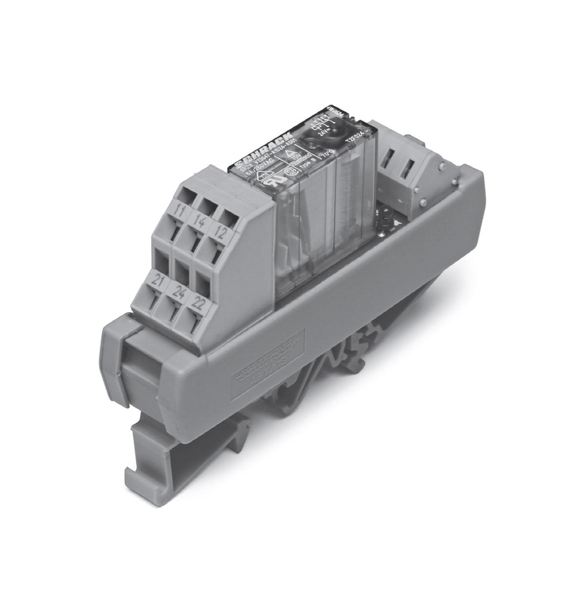 1 Stk Relais mit zwangsgeführten Kontakten, 2W, 24VDC, 6A, DIN SR2ZY024--