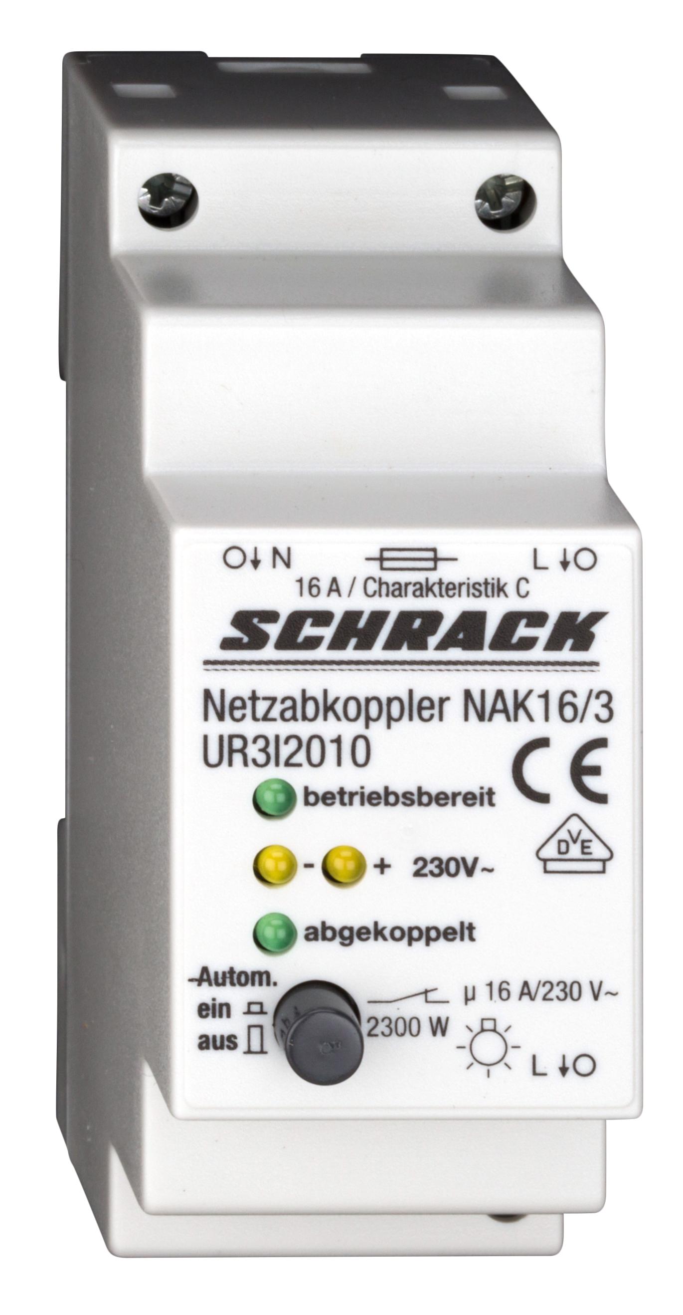 1 Stk Netzabkoppler 230VAC ± 10%, 16A, 2300W Glühlampenlast UR3I2010--