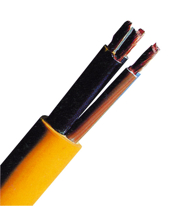 1 m XYMM-J 5x10 K35 gelb, PVC Baustellenleitung XC061114--