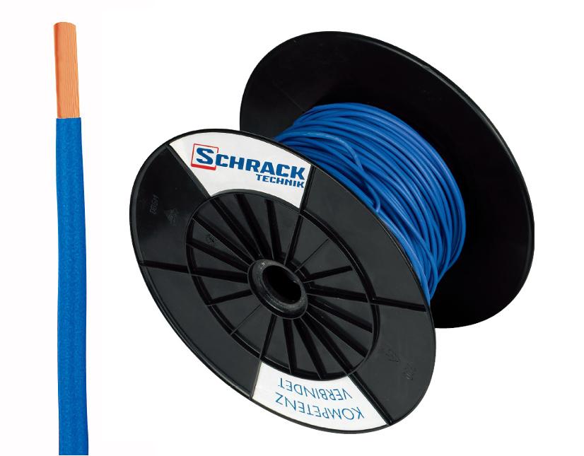 3 Spulen H07V-U (Ye) 1,5mm² blau, eindrähtig 300m