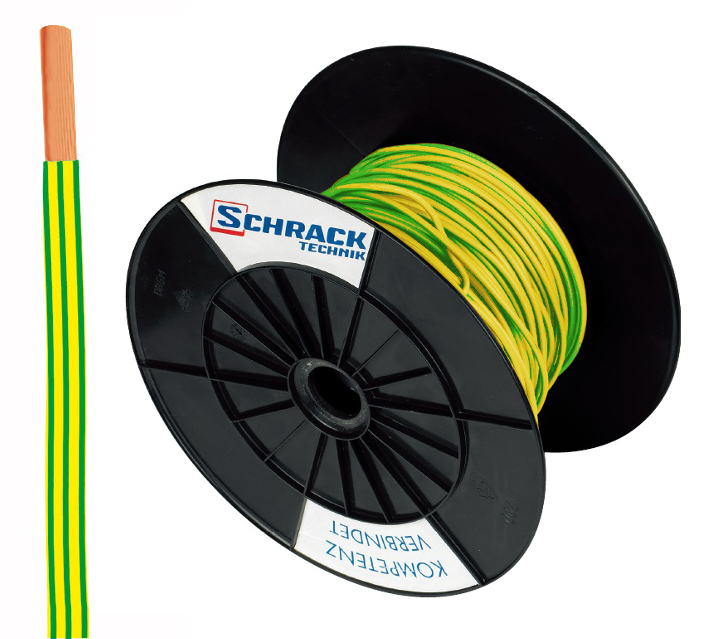 3 Spulen H07V-U (Ye) 1,5mm² gelb/grün, eindrähtig