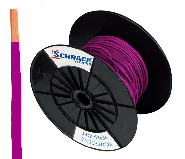 3 Spulen H07V-U (Ye) 1,5mm² violett, eindrähtig 300m