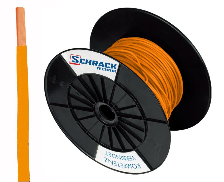 3 Spulen H07V-U (Ye) 1,5mm² orange, eindrähtig 300m