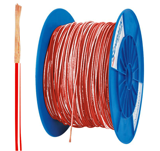 5 Spulen H05V-K (Ysf) 0,5mm² rot/weiß, feindrähtig