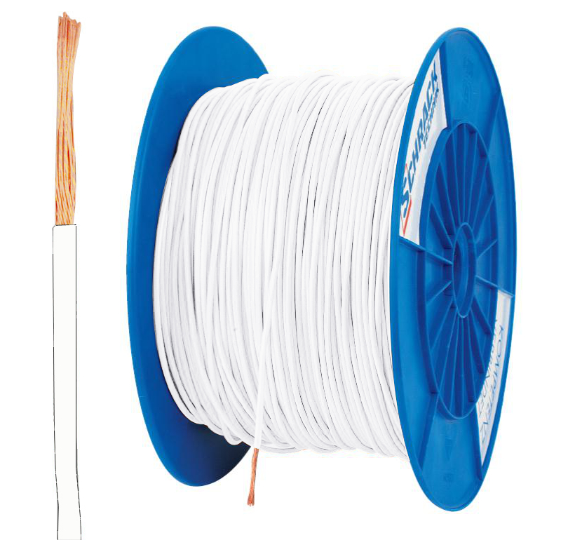 3 Spulen H05V-K (Ysf) 0,75mm² weiß, feindrähtig
