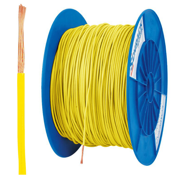 3 Spulen H05V-K (Ysf) 1mm² gelb, feindrähtig