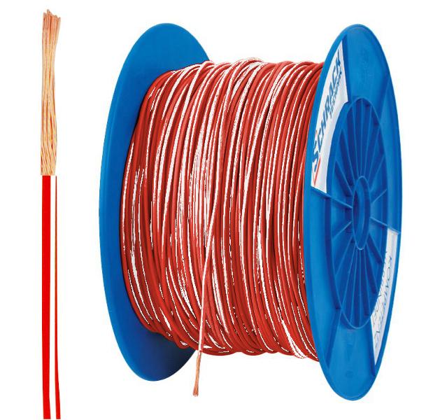 3 Spulen H05V-K (Ysf) 1mm² rot/weiß, feindrähtig