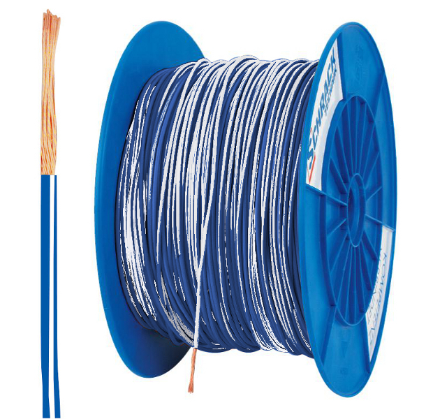 3 Spulen H05V-K (Ysf) 1mm² blau/weiß, feindrähtig