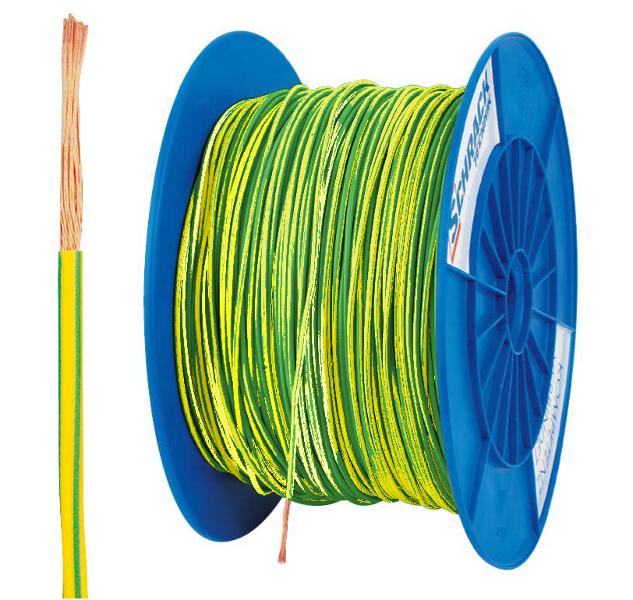 3 Spulen H07V-K (Yf) 1,5mm² gelb/grün, feindrähtig 300m