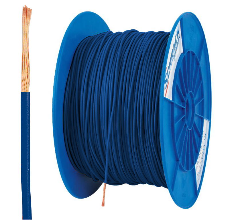 3 Spulen H07V-K (Yf) 1,5mm² dunkelblau, feindrähtig 300m
