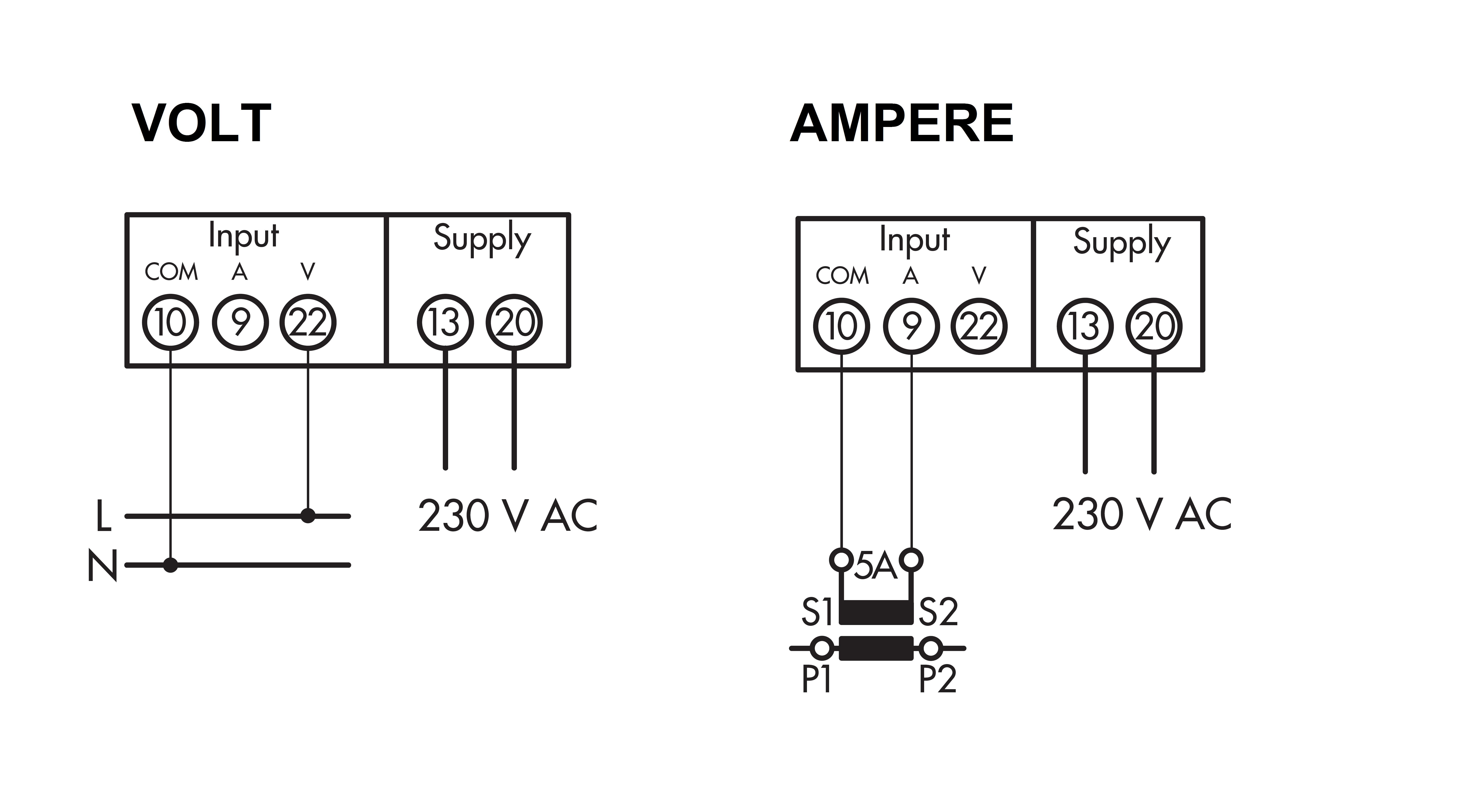 Modular Digital Voltmeter Ammeter 0 500v Ac X 5a Ct Emall Australia Circuit Diagram With Wiring
